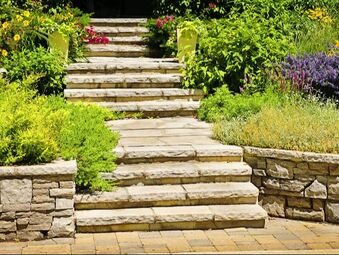 stairs made by concrete patio