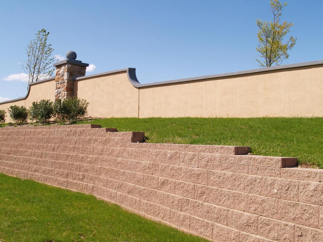 the retaining walls of the building